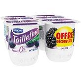 Taillefine Yaourt myrtille et mûre 0% MG les 4 pots de 125 g - offre découverte