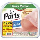 Jambon paris Fleury Michon Sel réduit 2x4 tranches