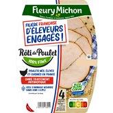 Fleury Michon Rôti de poulet Fleury Michon d'éleveurs engagés x4 - 140g