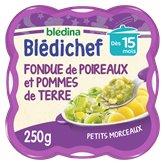 Blédina Repas Blédichef Blédina 15 mois Fondue poireaux pdt - 250g